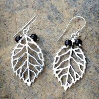 Handmade Jewelry Manufacturer Black Onyx Gemstone 925 Sterling Silver Jaipur Rajasthan India Dangle Earring