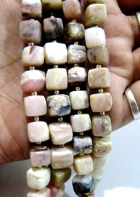 Natural Pink Opal cube box Faceted Beads.
