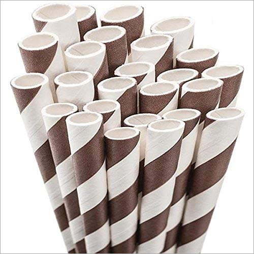 Brown Striped Paper Straw