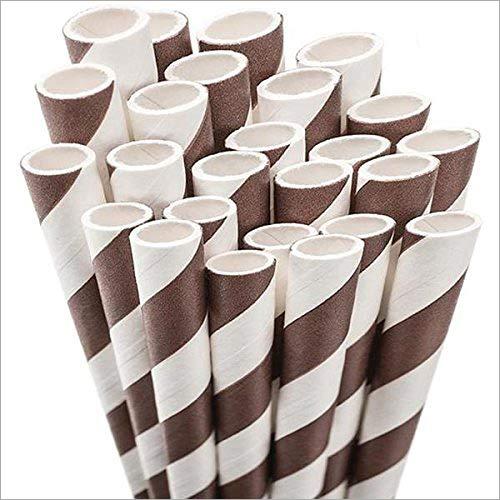 Brown Striped Paper Straw