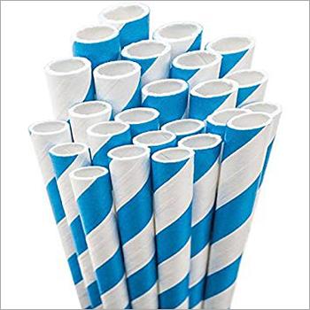 Blue Striped Paper Straw