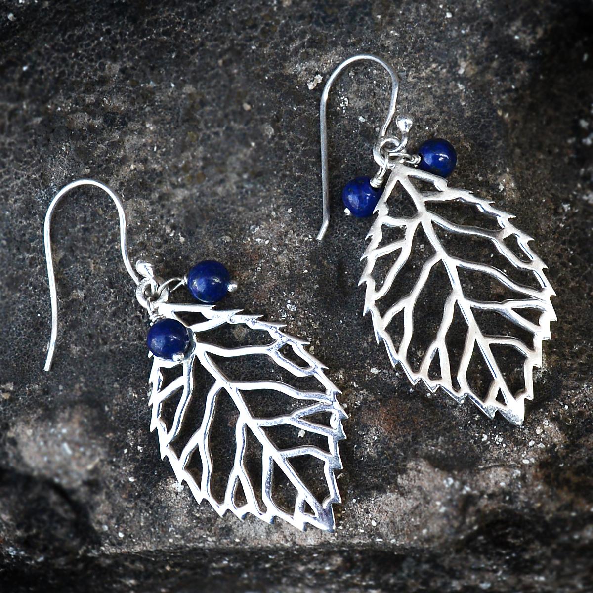 Handmade Jewelry Manufacturer Lapis Lazuli Gemstone 925 Sterling Silver Jaipur Rajasthan India Dangle Earring
