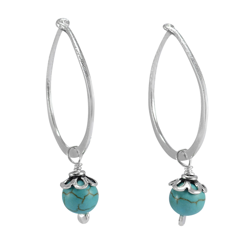 Handmade Jewelry Manufacturer 8 mm Round Turquoise Gemstone 925 Sterling Silver Earring Jaipur Rajasthan India