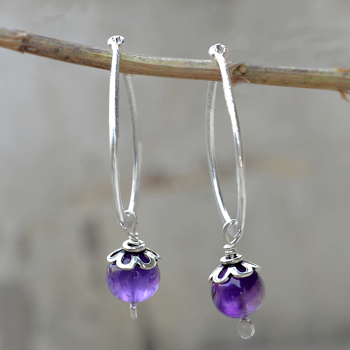 8 mm Round Amethyst Gemstone Jaipur Rajasthan India 925 Sterling Silver Earring Handmade Jewelry Manufacturer