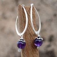 8 mm Round Amethyst Gemstone Jaipur Rajasthan India 925 Sterling Silver Earring Handmade Jewelry Manufacturer
