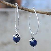 Handmade Jewelry Manufacturer Lapis Lazuli Gemstone 925 Sterling Silver Earring Jaipur Rajasthan India