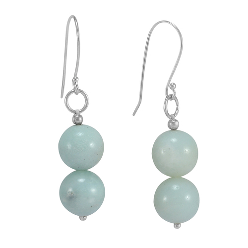 Handmade Jewelry Manufacturer Amazonite Gemstone 925 Sterling Silver Earring Jaipur Rajasthan India