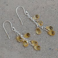 Handmade Jewelry Manufacturer Citrine Gemstone Jaipur Rajasthan India 925 Sterling Silver Fish Hook Dangle Earring
