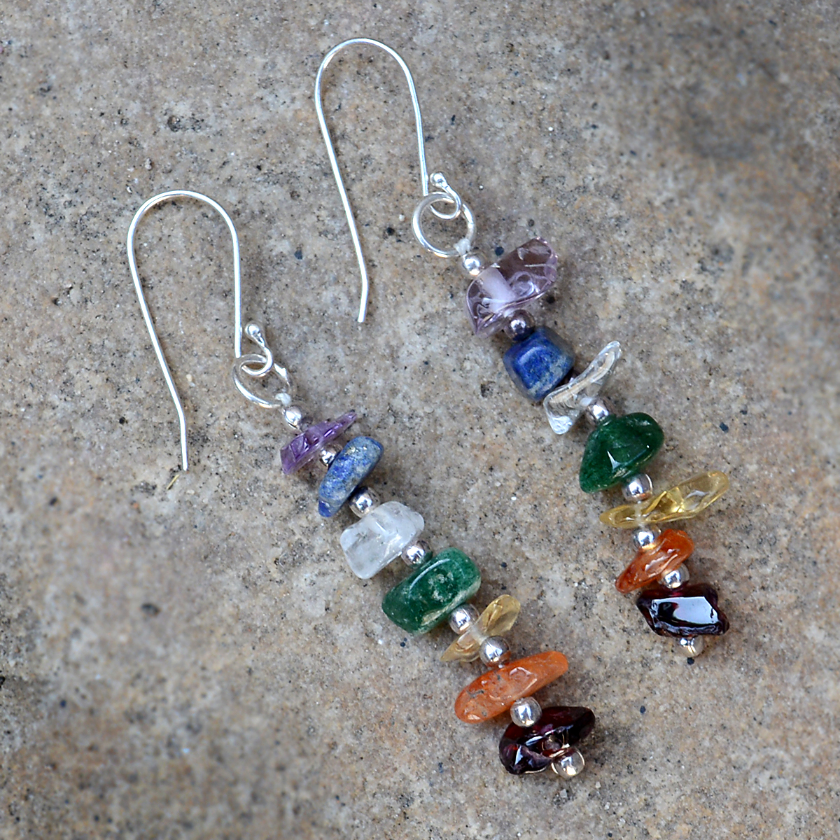 Multi Gemstone Jaipur Rajasthan India 925 Sterling Silver Dangle Earring Handmade Jewelry Manufacturer