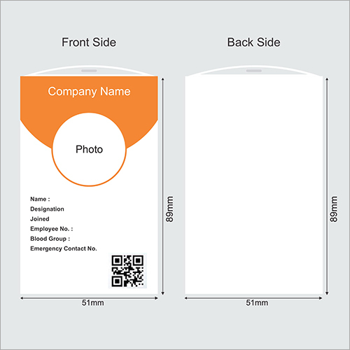 Vertical Shape Office Employee ID Card