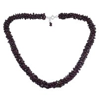 Jaipur Rajasthan India Garnet Gemstone Chips Handmade Jewelry Manufacturer 925 Sterling Silver Chips Necklace