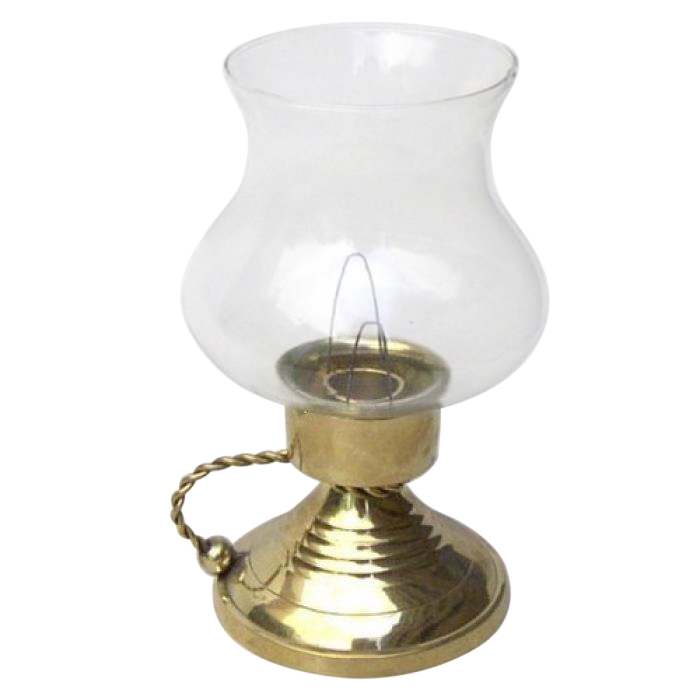 Solid Brass Candle Holder With Glass Chimney