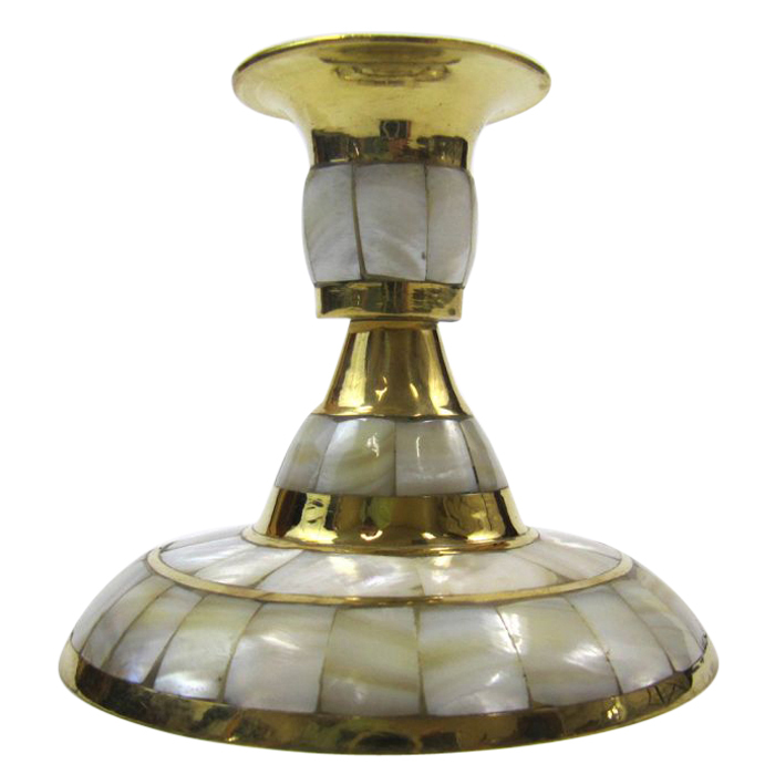 Brass & Mother-Of-Pearl Candle Holder