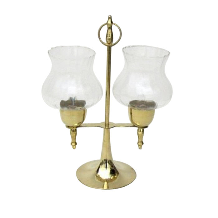 Brass Candle Holder Lamp Glass Chimneys