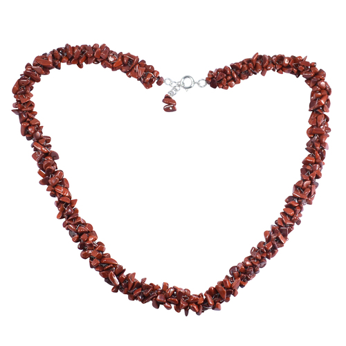 Handmade Jewelry Manufacturer Red Jasper Gemstone 925 Sterling Silver Chips Necklace Jaipur Rajasthan India