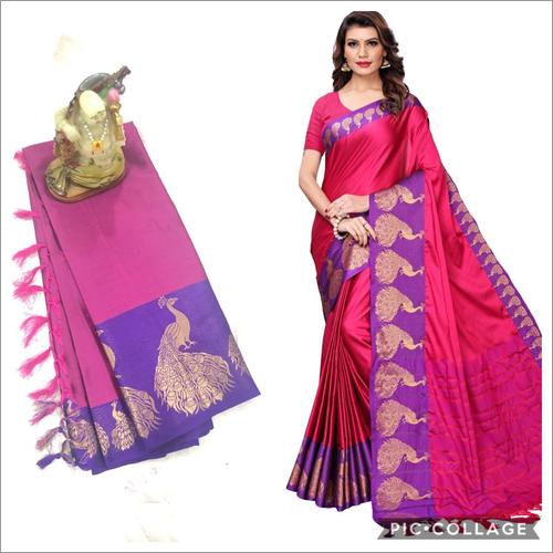 Peacock Big Border Cotton Silk Saree With Jhalar (Tassel)