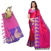 Peacock Big Border Cotton Silk Saree With Jhalar (Tassel)