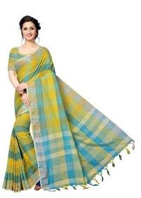 New Linen Checks Cotton Silk Saree With Jhalar (Tessel)