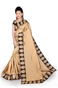 Solid Kalamkari Poly Silk Saree