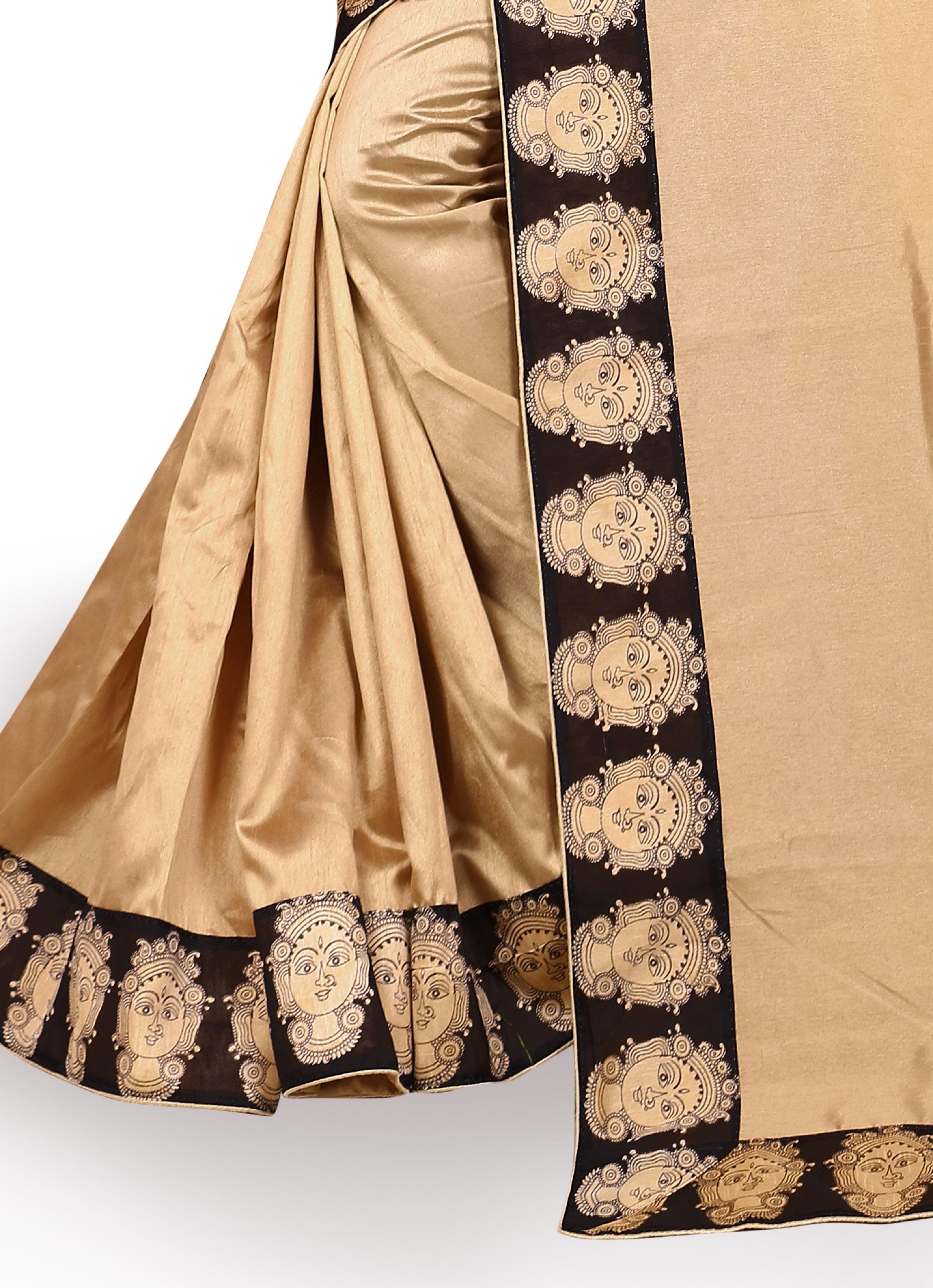 Solid Kalamkari Poly Silk Saree
