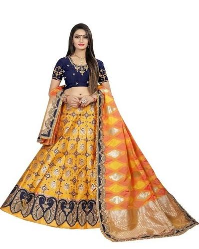Designer Bridal Lehenga Choli Pure Banarasi Silk Fabric