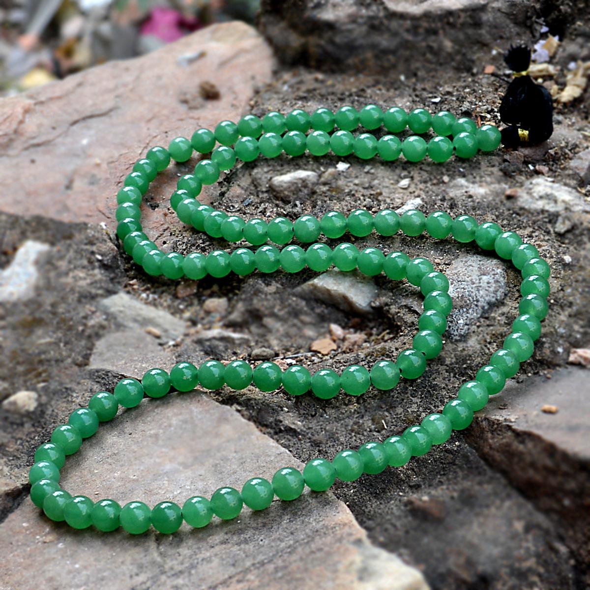 8 mm Round Green Onyx Gemstone Handmade Jewelry Manufacturer Rosary Jaipur Rajasthan India