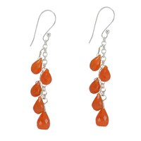 Handmade Jewelry Manufacturer Carnelian Gemstone 925 Sterling Silver Fish Hook Dangle Earring Jaipur Rajasthan India