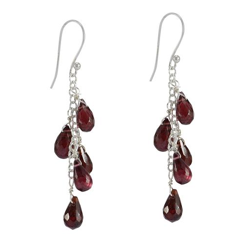 Handmade Jewelry Manufacturer Drop Red Garnet Gemstone Jaipur Rajasthan India 925 Sterling Silver Earring