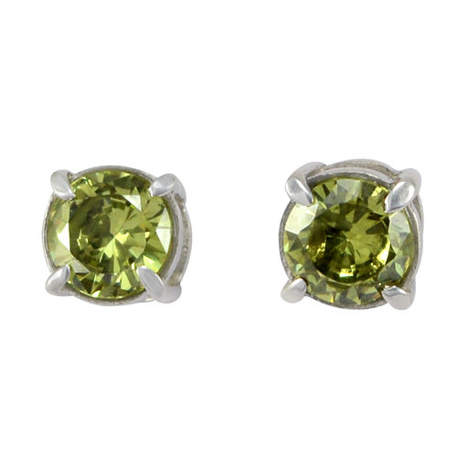 7mm Prong Setting Handmade Jewelry Manufacturer Green Cubic Zirconia, Jaipur Rajasthan India 925 Sterling Silver, Stud Earring