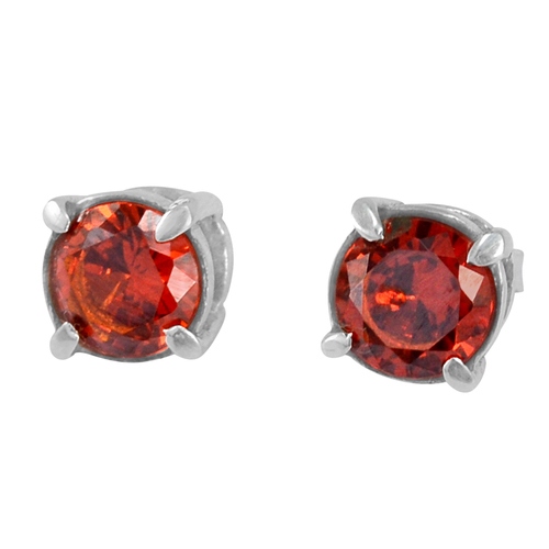 925 Sterling Silver, Handmade Jewelry Manufacturer Red Cubic Zirconia, Prong Setting, Tiny Stud Earring Jaipur Rajasthan India