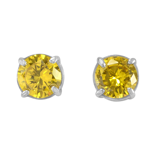 4 Prong Setting- Handmade Jewelry Manufacturer 925 Sterling Silver- Yellow Cubic Zirconia- Jaipur Rajasthan India Earring