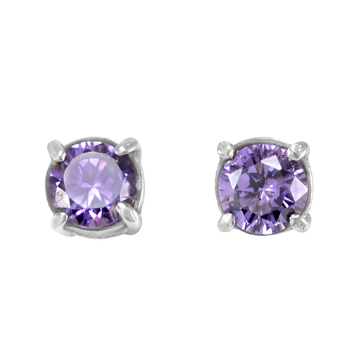 Lavender cubic zirconia Handmade Jewelry Manufacturer 925 Sterling Silver 4 Prong Setting Jaipur Rajasthan India Stud Earring
