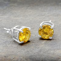 Jaipur Rajasthan India Yellow Cubic Zirconia Sterling Silver 4 Prong Setting Small Stud Earring Handmade Jewelry Manufacturer