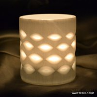 Round Glass White Candle Holder