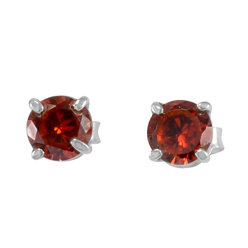 5mm Handmade Jewelry Manufacturer Round Red Cubic Zirconia 925 Sterling Silver Jaipur Rajasthan India Tiny Earring
