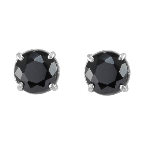 Round Faceted Handmade Jewelry Manufacturer Black Onyx 925 Sterling Silver 4 Prong-Setting Jaipur Rajasthan India Stud Earring
