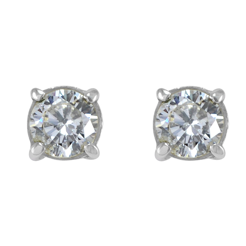 Handmade Jewelry Manufacturer 925 Sterling Silver 6mm Round White Cubic Zirconia Tiny Stud Earring Jaipur Rajasthan India