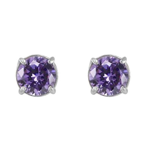 Small Bead Handmade Jewelry Manufacturer lavender cubic zirconia Prong-Setting Jaipur Rajasthan India Sterling Silver Earring