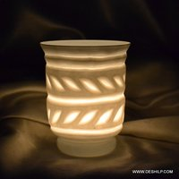 White Home Decor Glass Candle Holder