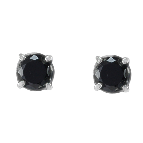 Prong- Setting 6mm Handmade Jewelry Manufacturer Black Onyx Faceted 925 Sterling Silver Tiny Jaipur Rajasthan India Earring