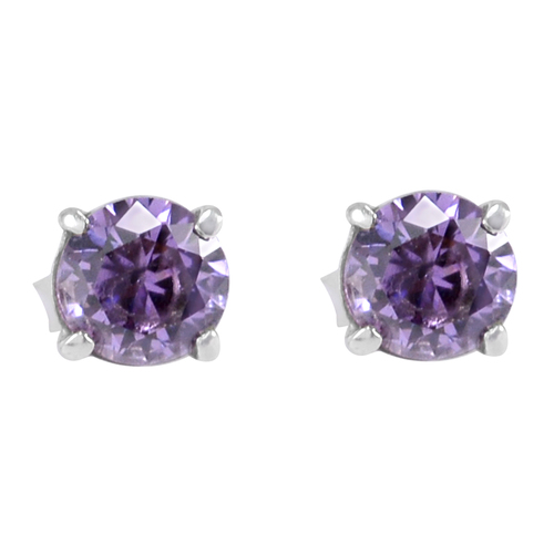 Handmade Jewelry Manufacturer lavender cubic zirconia Prong-Setting 925 Sterling Silver Stud Earring Jaipur Rajasthan India