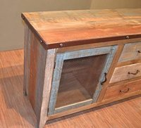 Rustic Solid Reclaimed Wood Sideboard Multi Pupose Console Beach Style Sideboard.