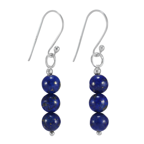 Handmade Jewelry Manufacturer Deep Blue Lapis Lazuli, 925 Sterling Silver, Simple Dangle Earring Jaipur Rajasthan India