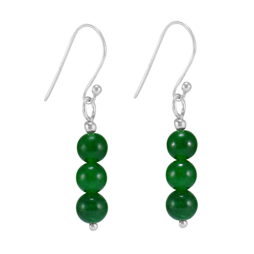 May Birthstone, Green Onyx, Handmade Jewelry Manufacturer Round Beads, 925 Sterling Silver Jaipur Rajasthan India Small Earring