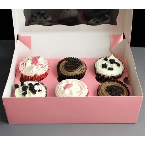 6 Cupcake Box Pink Open