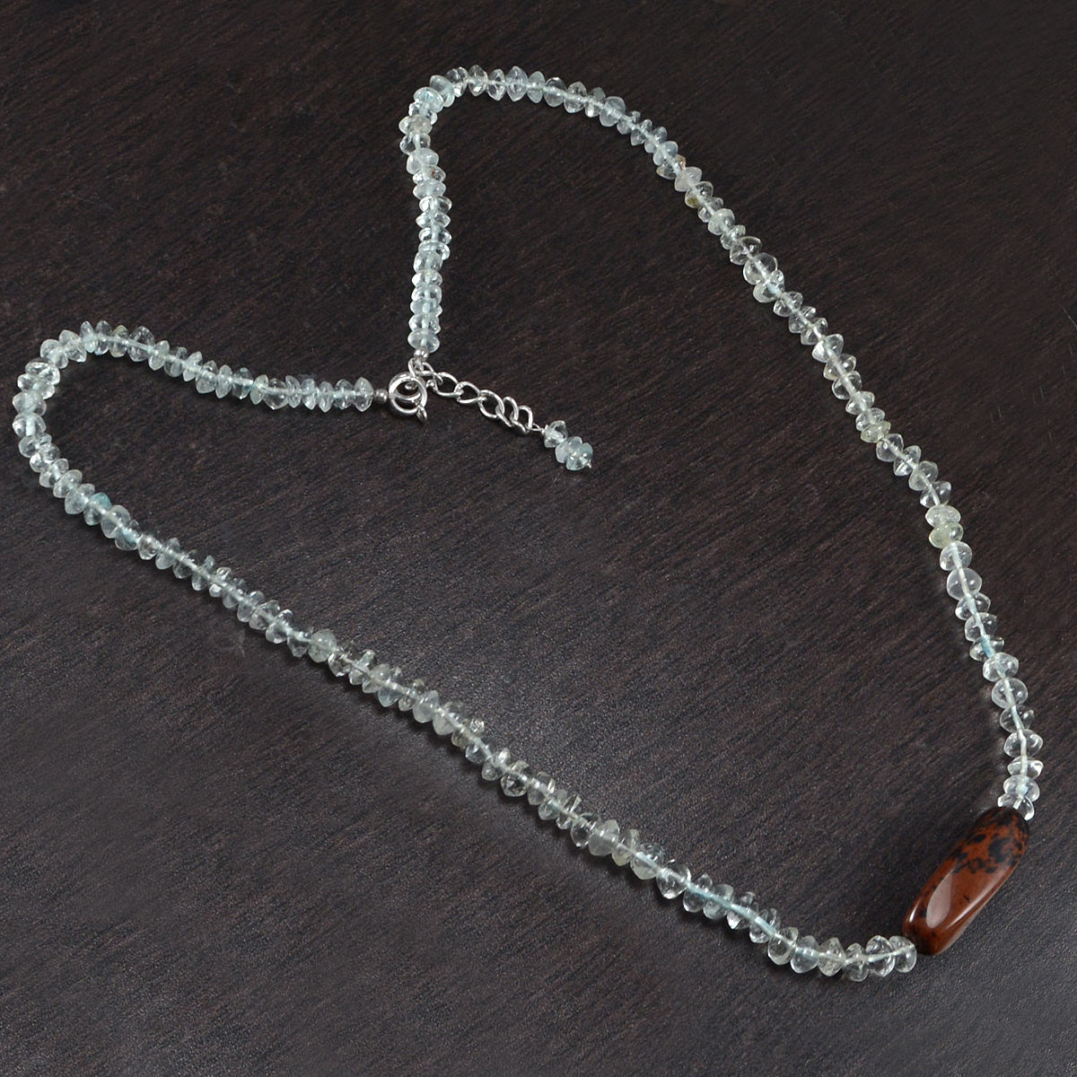 Beaded Crystal Quartz & Handmade Manufacturer Fancy Shape Mohagany Obsidian 925 Sterling Silver Jaipur Rajasthan India Necklace