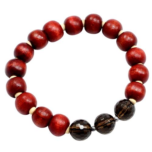 Smoky Quartz & Wood Beads, Handmade Manufacturer Chakra-Yoga-Meditation, Jaipur Rajasthan India 925 Silver, Stretch Bracelet