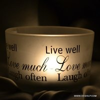 Text Printed Frost Glass T Light Candle