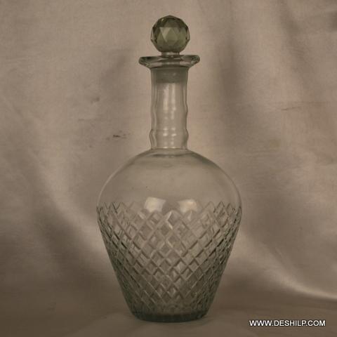 Clear Cut Glass Perfume Bottle