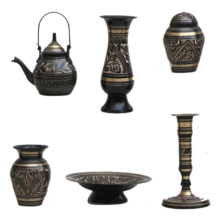 Painted Etched Brass Gift Set Black